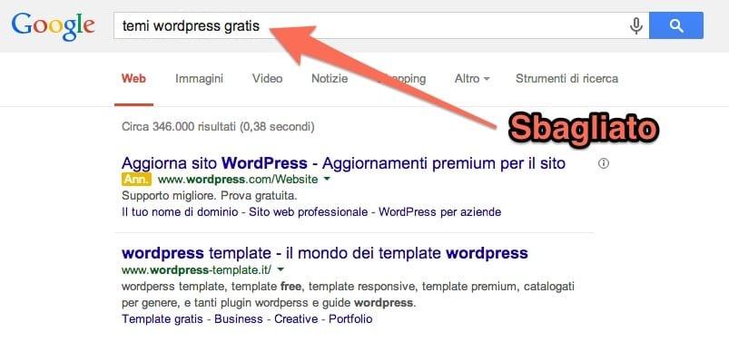 cercare temi wordpress gratis è sbagliato