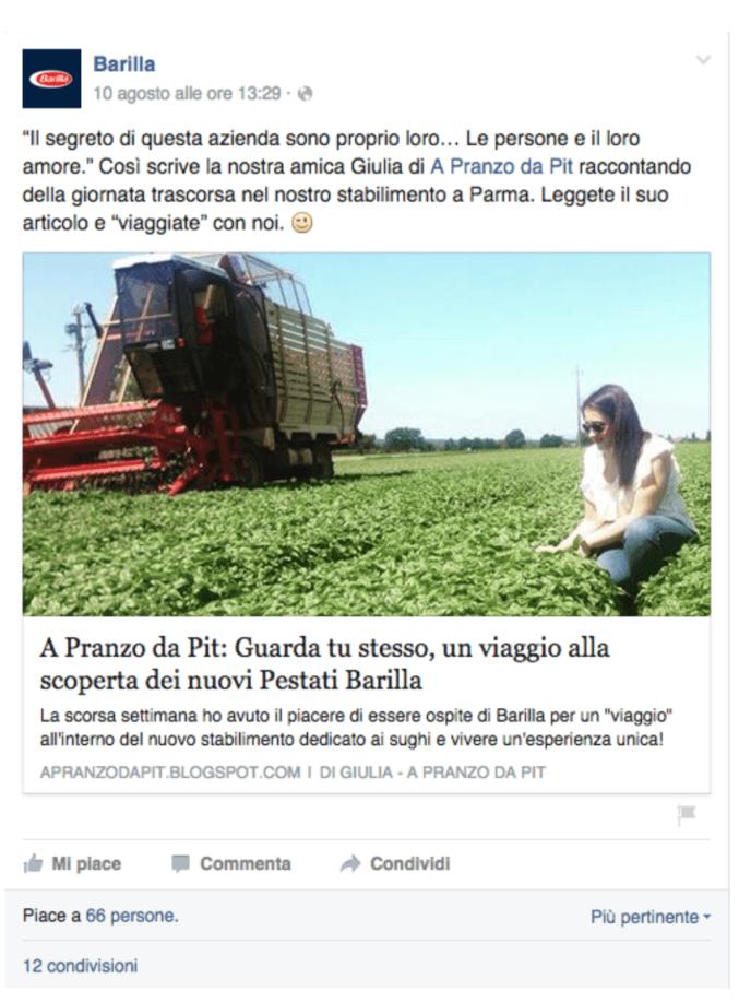 Social Media profilo Barilla Facebook